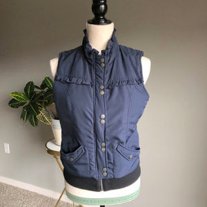 Tulle Jackets & Coats - Tulle Navy Vest with Silver Buttons & Ruffles
